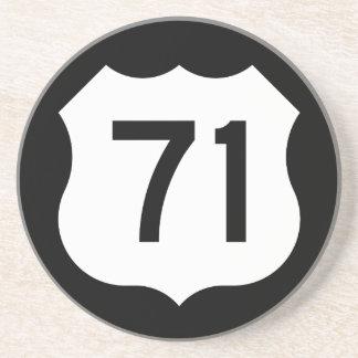 Signe de l'itinéraire 71 des USA Dessous De Verre En Grès