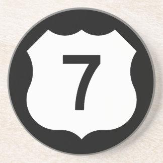 Signe de l'itinéraire 7 des USA Dessous De Verre En Grès
