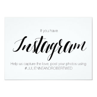 """Signe de mariage de """"Instagram Hashtag"""" de style Carton D'invitation 12,7 Cm X 17,78 Cm"""