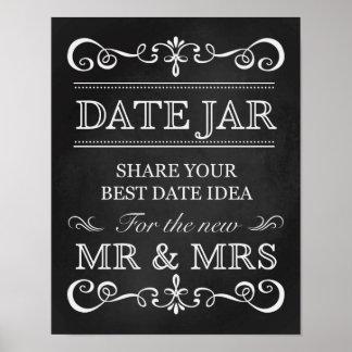 Signe de mariage de tableau de pot de date