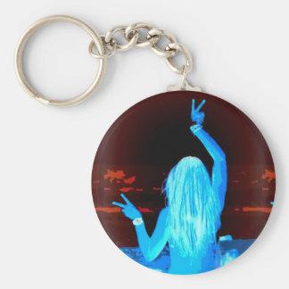 signe de paix hippie bleu porte-clés