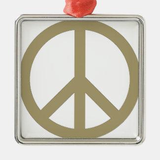 Signe de paix ornement carré argenté