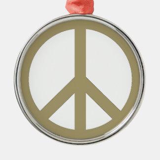 Signe de paix ornement rond argenté