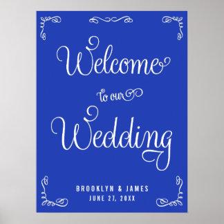 Signe de réception de mariage de bleu royal avec