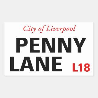 Signe de ruelle de penny (paquet de 4) sticker rectangulaire