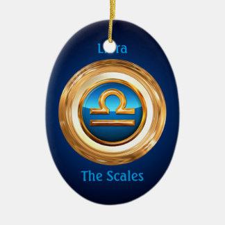 Signe de zodiaque de Libra The Scales Ornement Ovale En Céramique