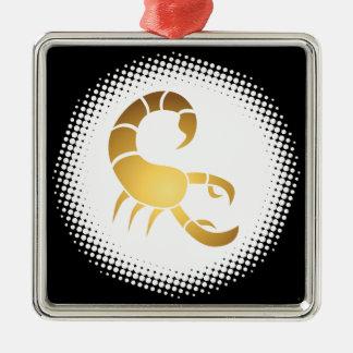 Signe de zodiaque de Scorpion Ornement Carré Argenté