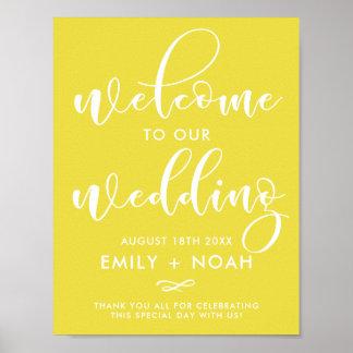 Signe élégant jaune lumineux de mariage d'accueil