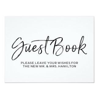 Signe en lettres de mariage de livre d'invité de carton d'invitation  16,51 cm x 22,22 cm