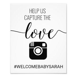 Signe fait sur commande de baby shower de Hashtag Impression Photo