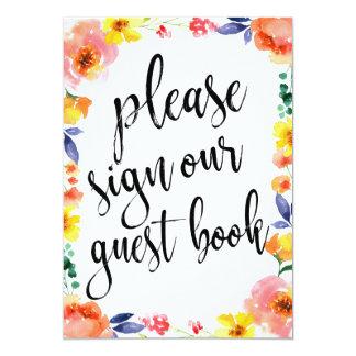 Signe floral abordable de Boho de livre d'invité Carton D'invitation 12,7 Cm X 17,78 Cm
