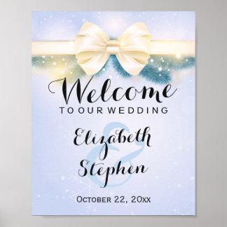 Signe floral de mariage d'or de pins bleus poster