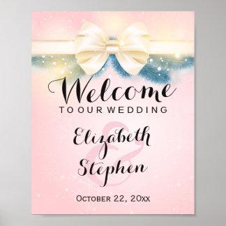 Signe floral de mariage d'or de pins roses poster