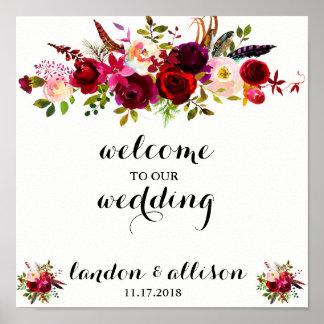 Signe floral rustique de mariage d'aquarelle de poster