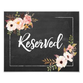Signe floral rustique réservé de mariage de  tirage photo