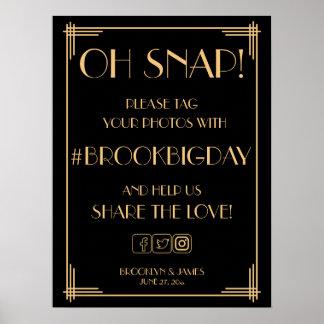 Signe noir 18x24 de Gatsby Hashtag d'or d'art déco