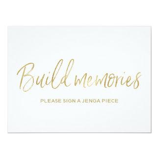 Signe or élégant de mariage de Jenga des souvenirs Carton D'invitation 16,51 Cm X 22,22 Cm