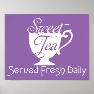 Signe quotidien frais de restaurant servi par thé poster
