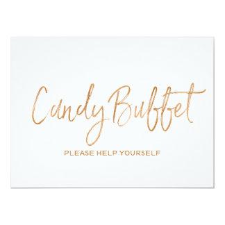 """Signe rose de """"buffet de sucrerie"""" de mariage d'or carton d'invitation  16,51 cm x 22,22 cm"""