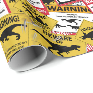 Signes de précaution de dinosaure papier cadeau noël