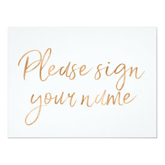 """""""Signez svp votre signe rose"""" d'or élégant nommé Carton D'invitation 16,51 Cm X 22,22 Cm"""