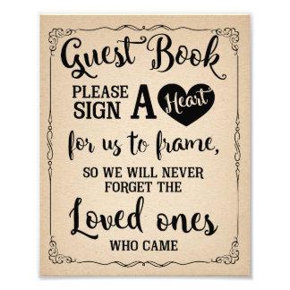 signez un signe de mariage de livre d'invité de photos
