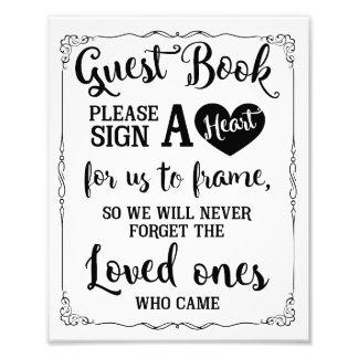 signez un signe de mariage de livre d'invité de tirages photo