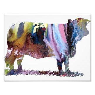 Silhouette abstraite colorée de vache impressions photo