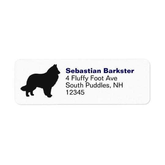 Silhouette belge de chien de berger étiquette d'adresse retour