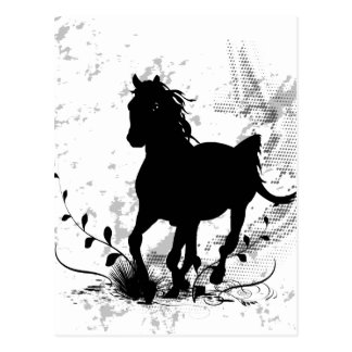 Silhouette, cheval noir carte postale