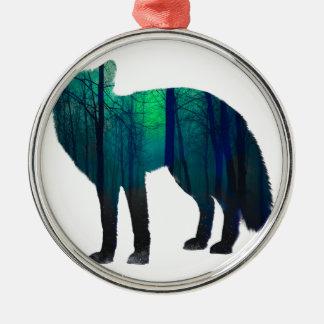 Silhouette de Fox - renard de forêt - art de Ornement Rond Argenté
