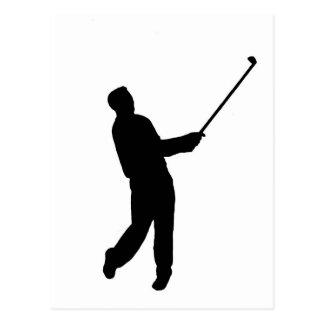 Silhouette de golfeur cartes postales