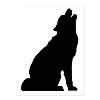 Silhouette de loup d'hurlement carte postale