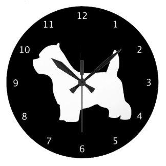 Silhouette de noir de chien de Terrier blanc de mo Grande Horloge Ronde