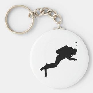 Silhouette de plongeur - porte - clé porte-clé rond