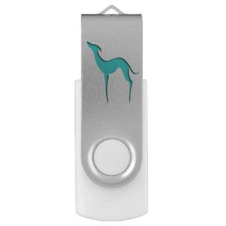 Silhouette de turquoise de lévrier/whippet clé USB 2.0 swivel