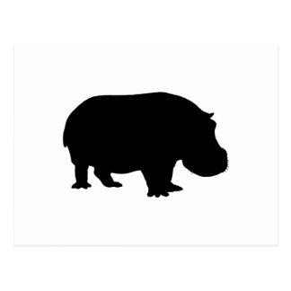 Silhouette d'hippopotame cartes postales