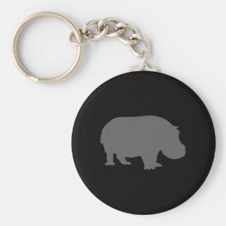 Silhouette grise d'hippopotame porte-clé rond
