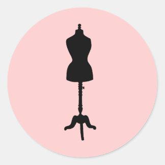 Silhouette II de forme de robe Sticker Rond