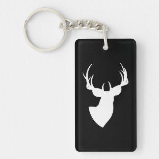 Silhouette noire et blanche de cerfs communs porte-clé  rectangulaire en acrylique une face
