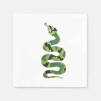 Silhouette noire et verte de serpent d'impression serviettes en papier
