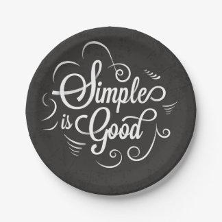 Simple est la bonne citation de motivation de la assiettes en papier