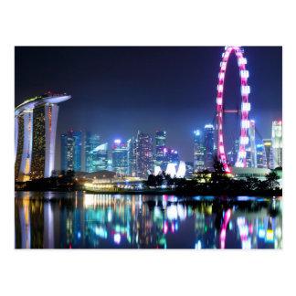 Singapour à la carte postale de nuit