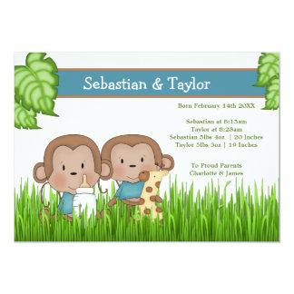 Singe mignon de nouveaux de bébé garçons de jumeau carton d'invitation  12,7 cm x 17,78 cm