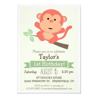 Singe mignon, fête d'anniversaire de l'enfant carton d'invitation  12,7 cm x 17,78 cm