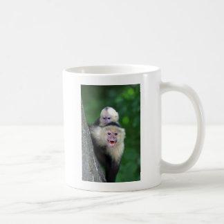 Singes faits face blancs de capucin mug blanc