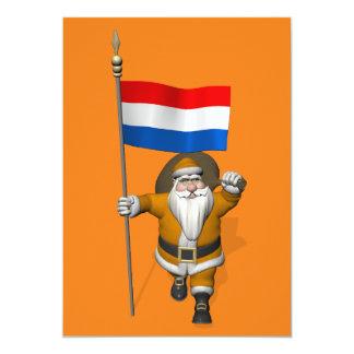Sinterklaas met Vlag van Nederland 12,7x17,8 Uitnodiging Kaart
