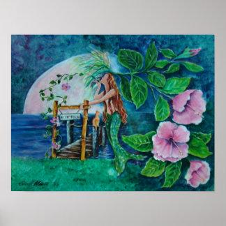 Sirène à la peinture acrylique de hausse de lune