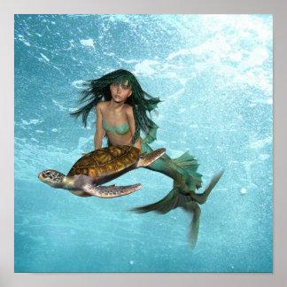 Sirène avec l'affiche de tortue de mer