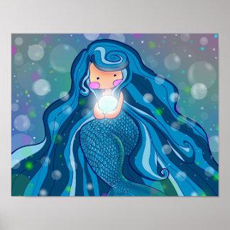 Sirène avec l'affiche lumineuse de perle